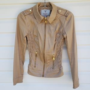 Guess Bomber Jacket Gold Tan XS Ruched